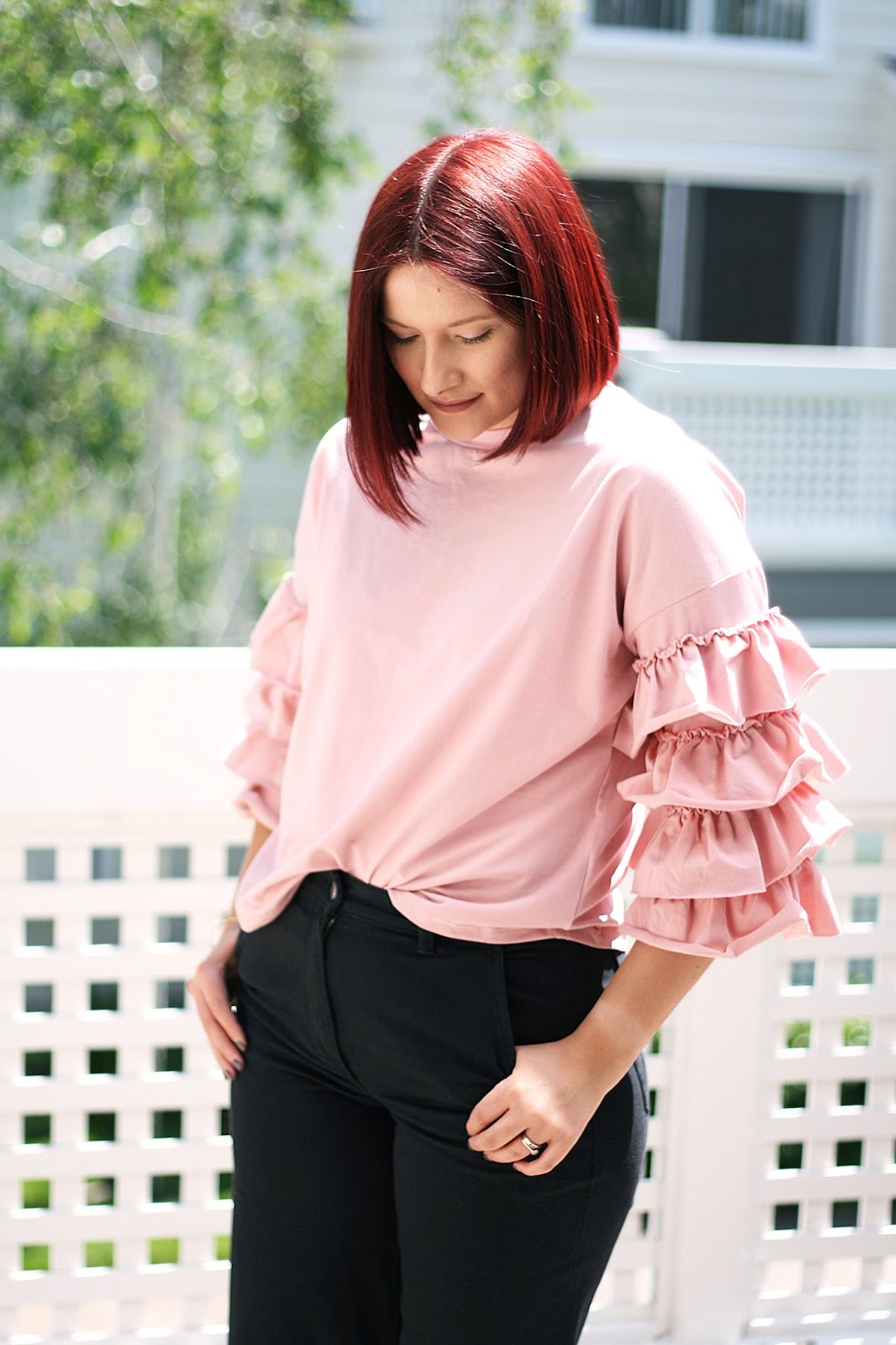 a75392016a Layered ruffle sleeve t-shirt, SheIn, Fashion blogger, affordable fashion,  Red