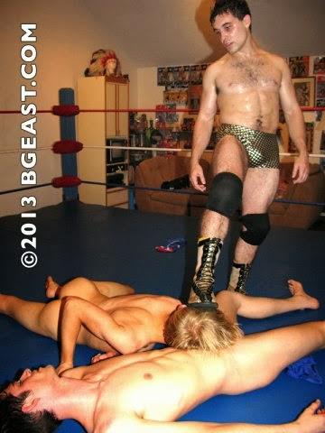 fem wrestling low blow