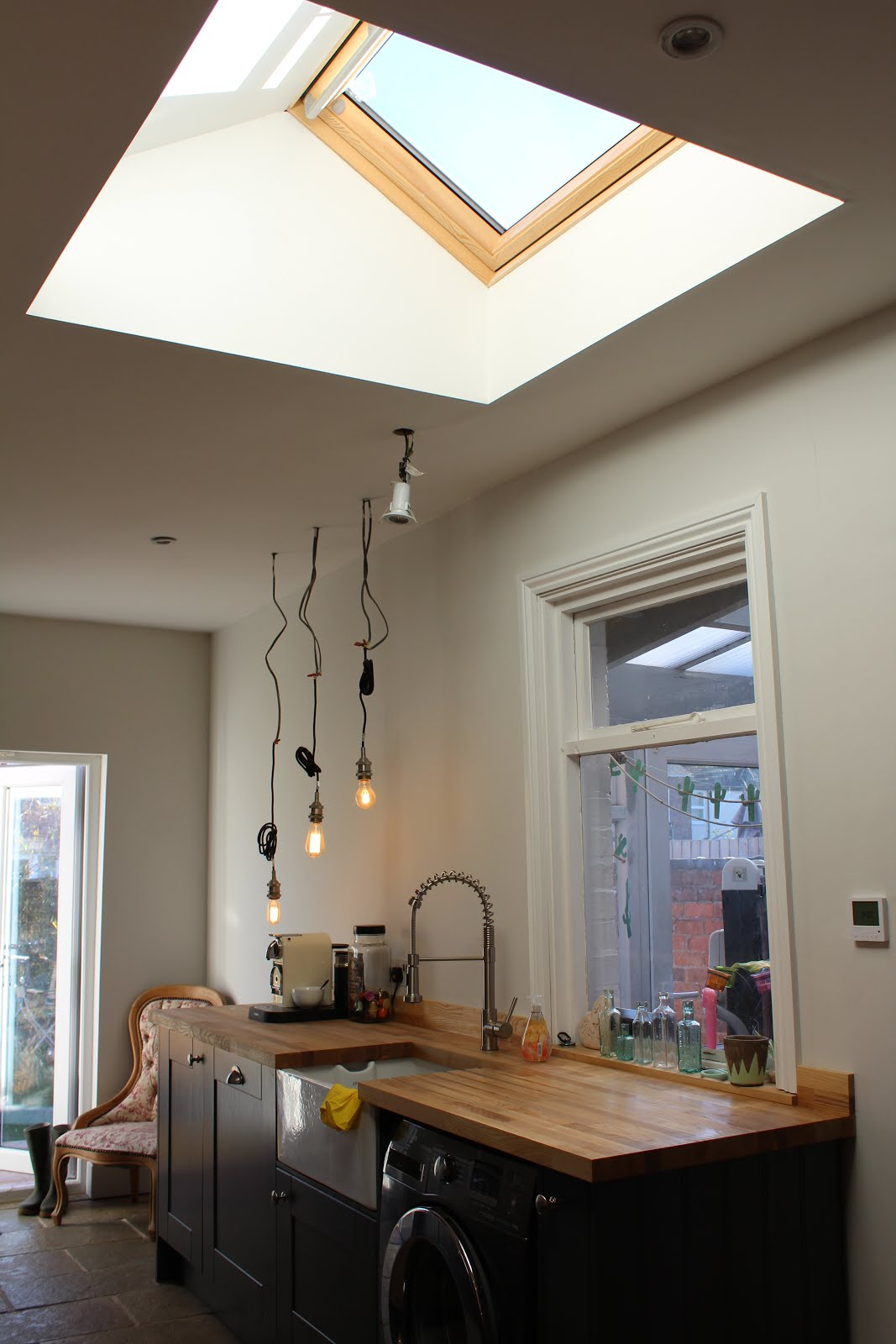 Roof Window in flat ceiling kitchen
