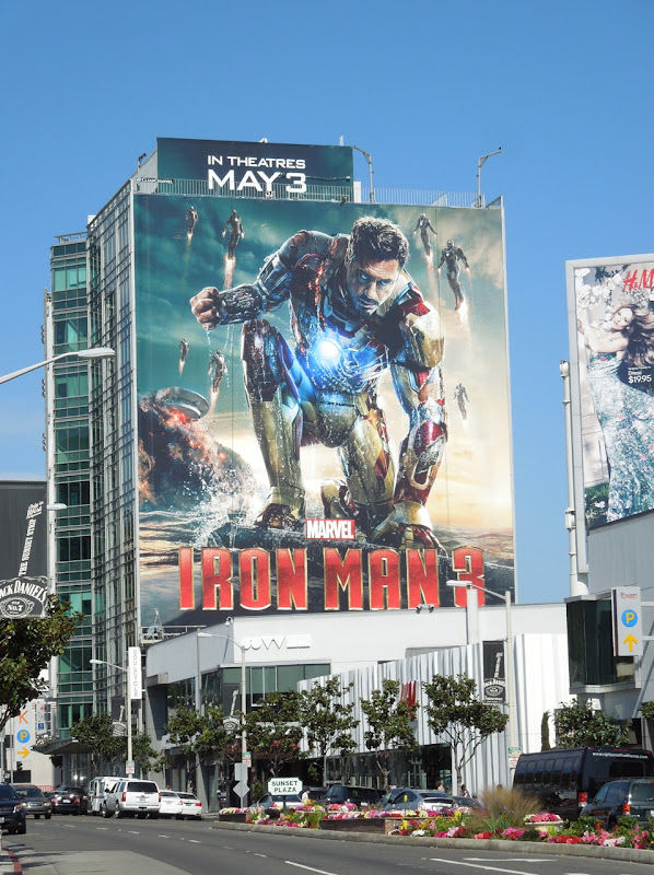 Giant Iron Man 3 movie billboard