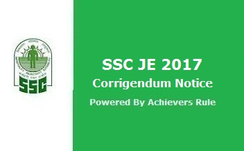 SSC JE 2017 Corrigendum Notice