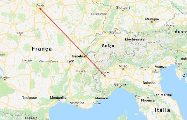 Mapa da viagem de Turim a Paris