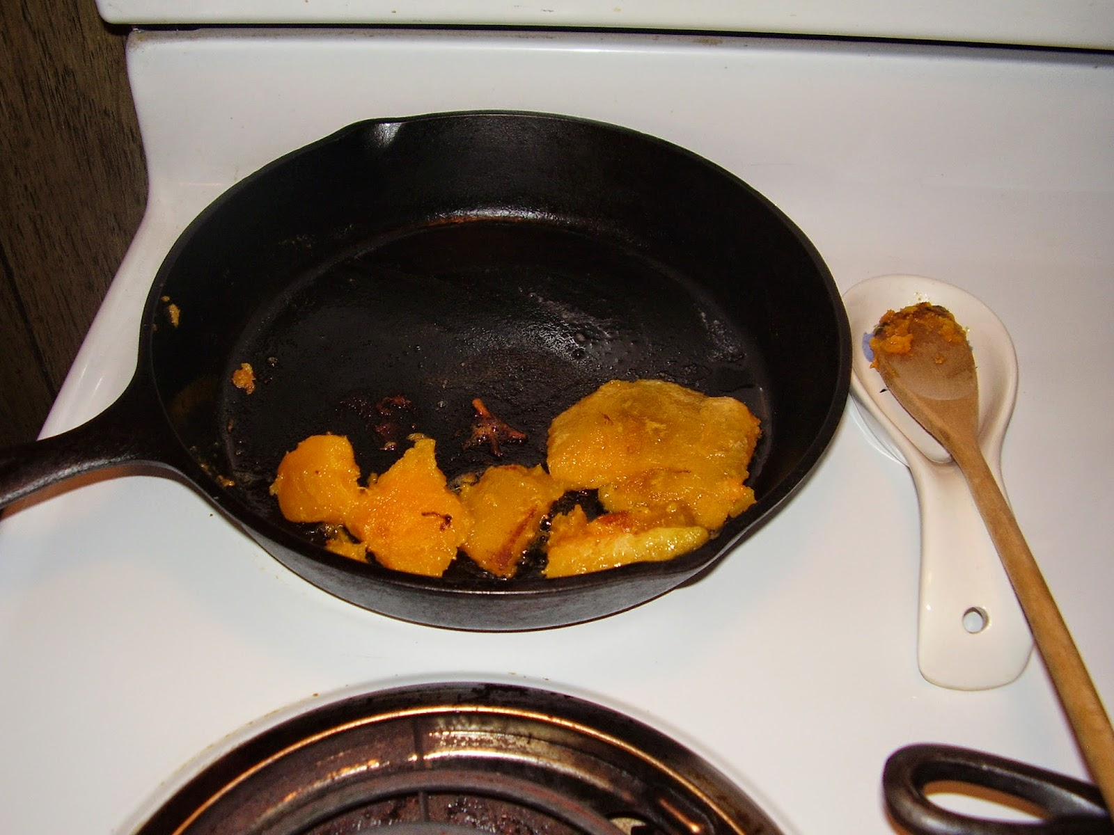 Squash in cast iron frying pan.