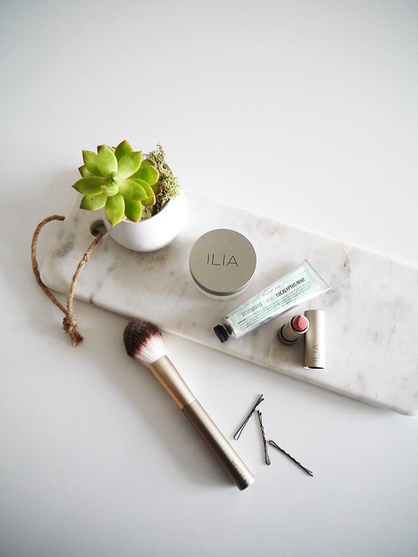 Flatlay featuring succulent, a couple of bobby pins, Leaves of Trees natural deodorant in eucalyptus mint, ILIA lipstick and powder brush