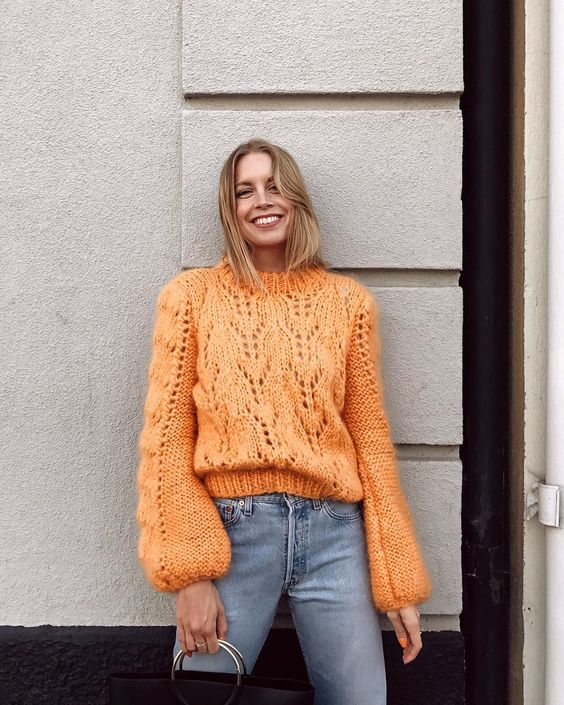 GANNI crochet knitted jumper