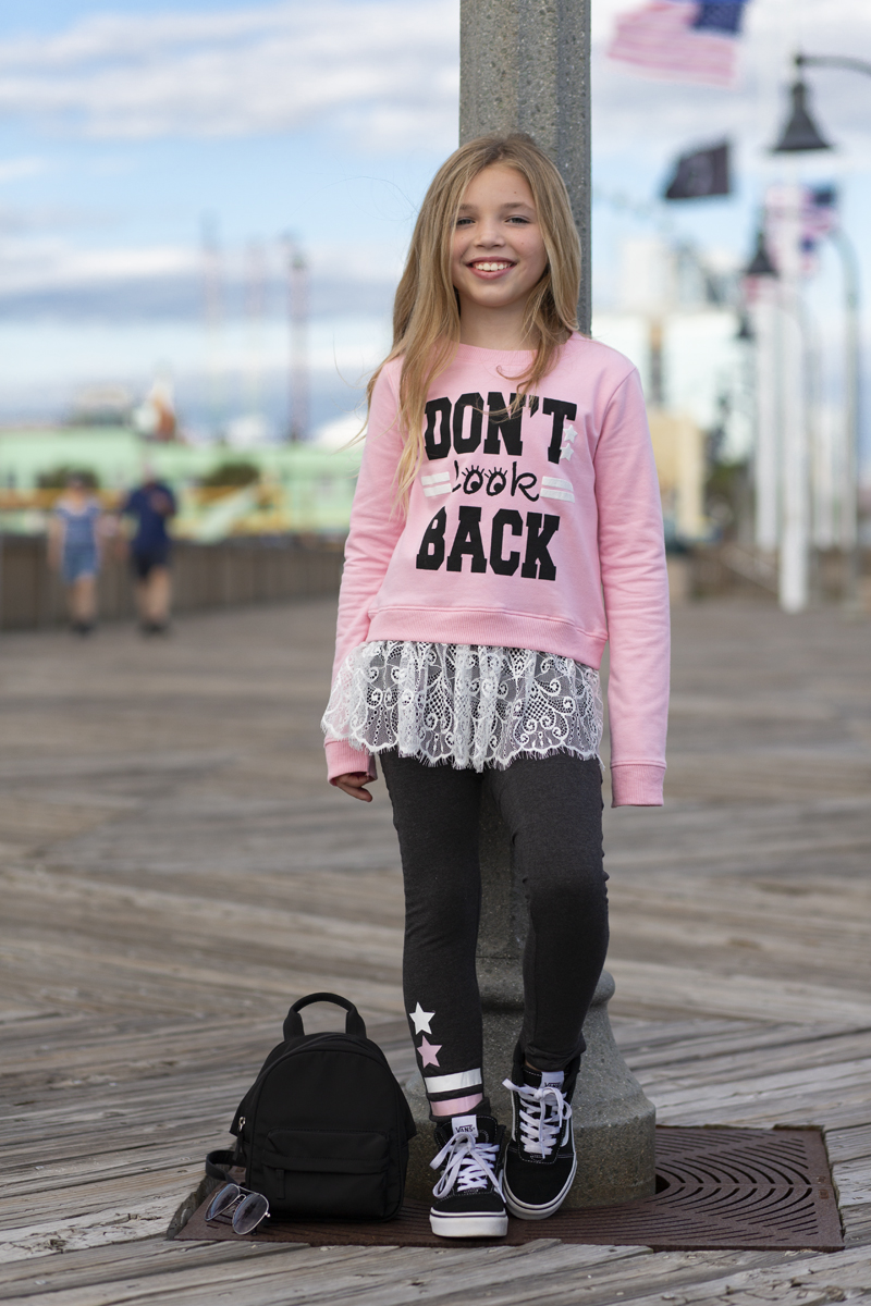 child model wearing LAFSNY lace tee shirt and leggings