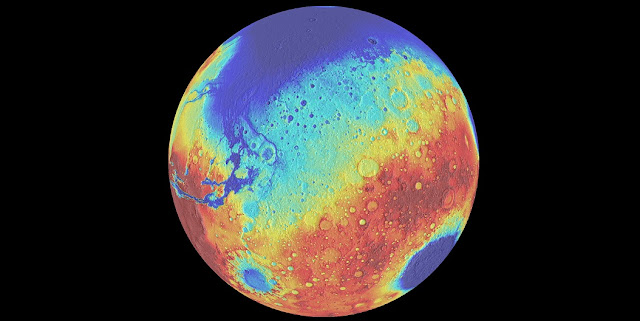 Mars bears the scars of five giant impacts, including the ancient giant Borealis basin (top of globe), Hellas (bottom right), and Argyre (bottom left). An SwRI-led team discovered that Mars experienced a 400-million-year lull in impacts between the formation of Borealis and the younger basins. Image Courtesy of University of Arizona/LPL/Southwest Research Institute
