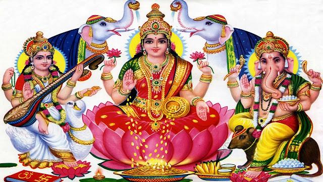 Best Maa Lakshmi & Ganesha HD Wallpaper In White Background