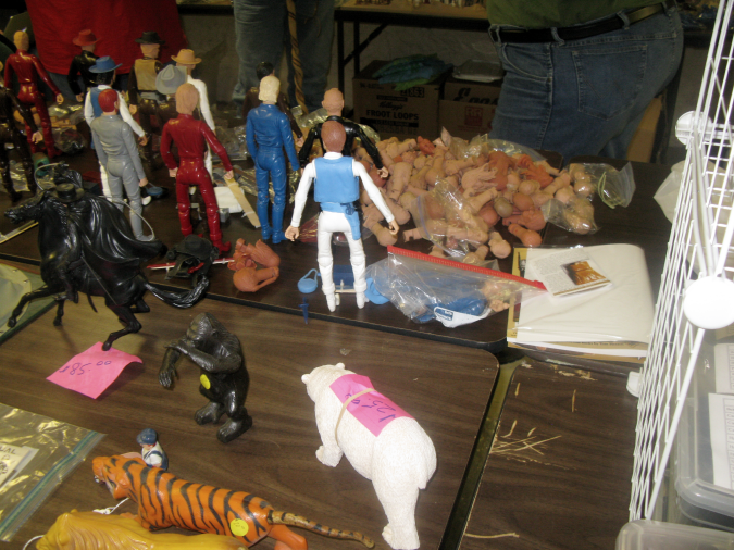A stray shot of Buck Maas' table with some of Terry Ryder's wares in the picture, too. Buck does amazing work, recasting entire bodies and also making new copies of the heads produced by the legendary Noah Coop. It was great to finally meet him in person this year. And it's always great to see Terry Ryder, too. She made out like a bandit at the Turner sale.