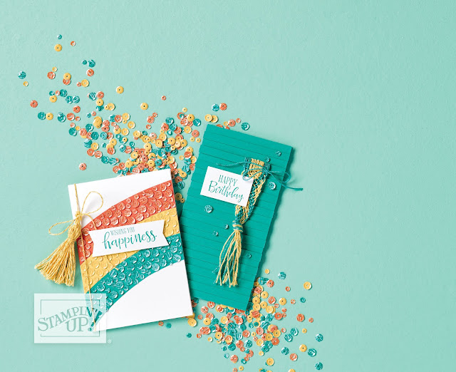 Rainbow card from Sale-A-Bration catalog featuring Metallic Baker's Twine & Sequins Combo Pack