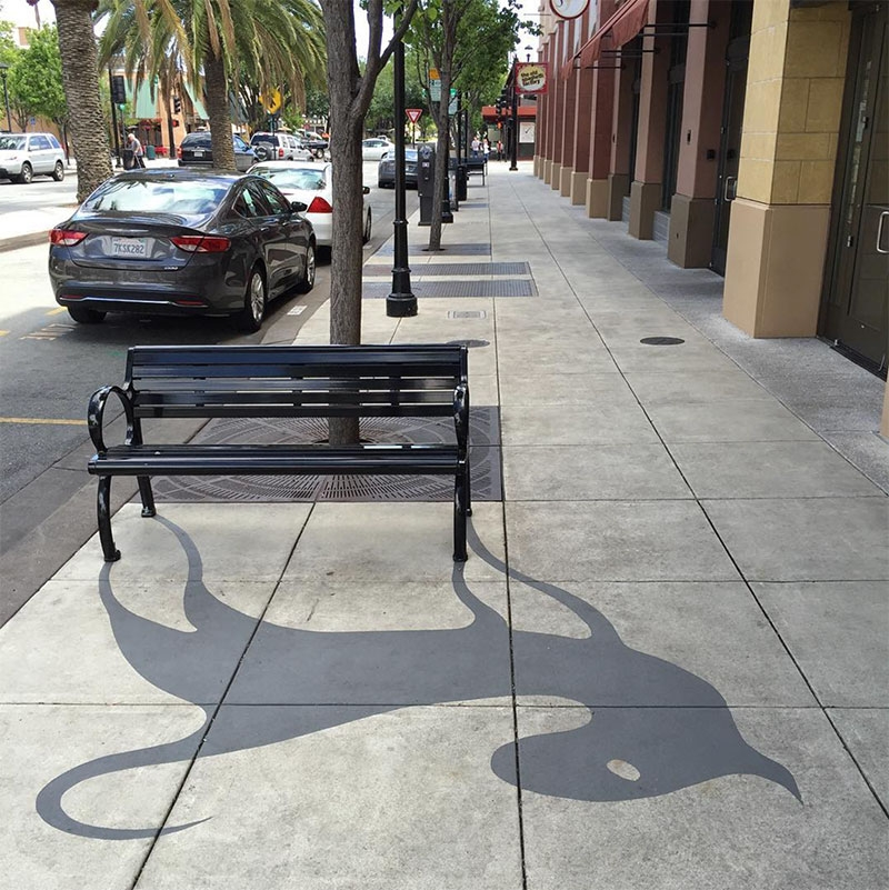02-Metal-Bench-Damon-Belanger-Inventive-Surreal-Shadow-Paintings-come-Alive-www-designstack-co
