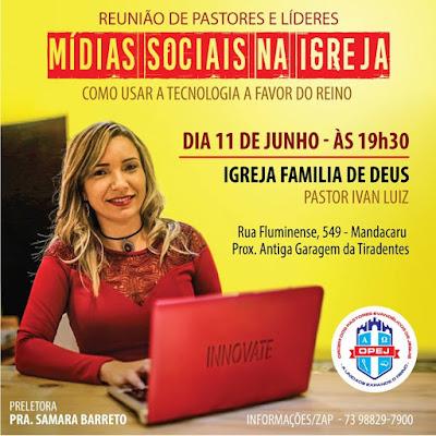 Opej realiza palestra com Samara Barreto; Como usar as mídias sociais na igreja