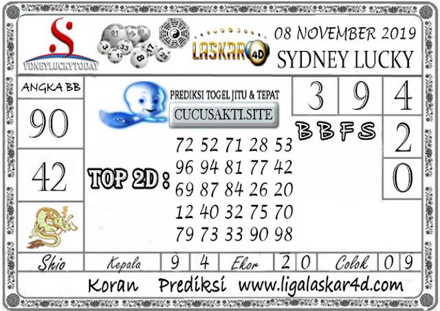 Prediksi Sydney Lucky Today LASKAR4D 08 NOVEMBER 2019