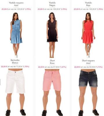 vestidos y shorts en oferta