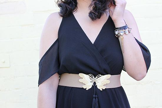 Black Cold Shoulder Maxi Dress and Vintage Butterfly Belt   Will Bake for Shoes