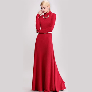 Model Baju Dress Panjang Merah