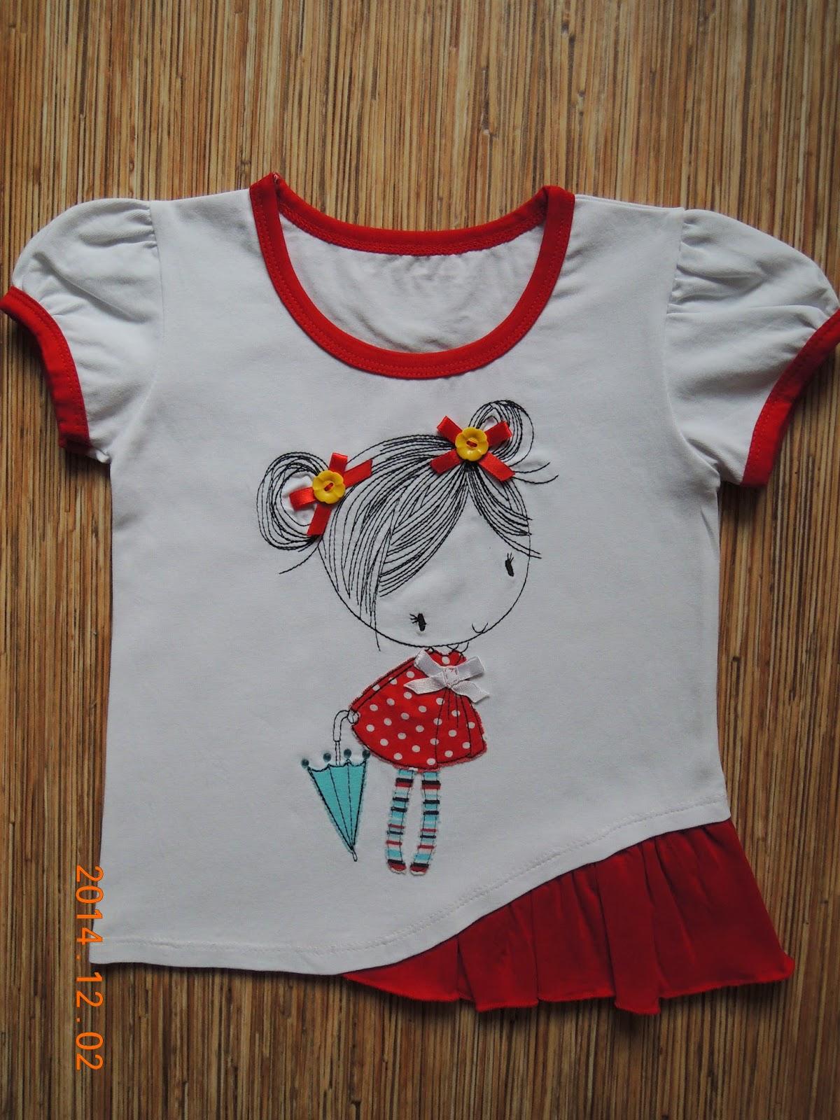 Вышивка на футболке для девочки