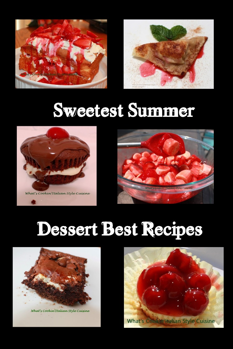 This is a collage of summer recipes that are easy to make using strawberries, cupcakes, brownies, smores and much more.