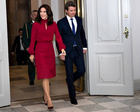 Crown Prince Frederik at P4G summit dinner. Crown Princess Mary wore Isabel Marant red ruffled high neck blouse and red skirt