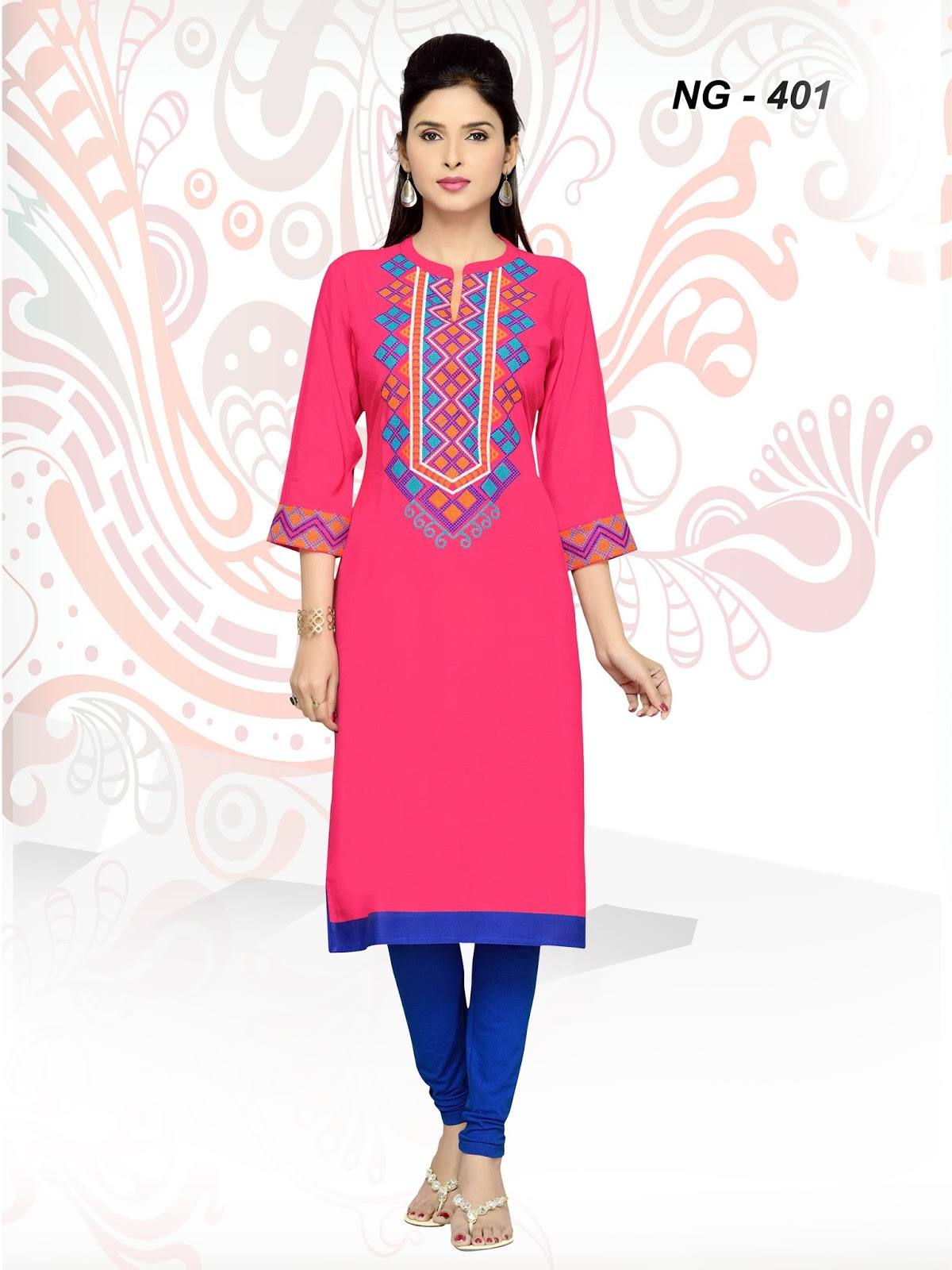 Nice Girl Cross Stich – New Plain Simple Stylish Causal Cotton Kurti