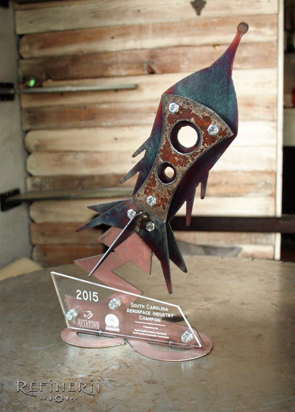 Refinerii Studios Retro Rocketship Custom Trophies For