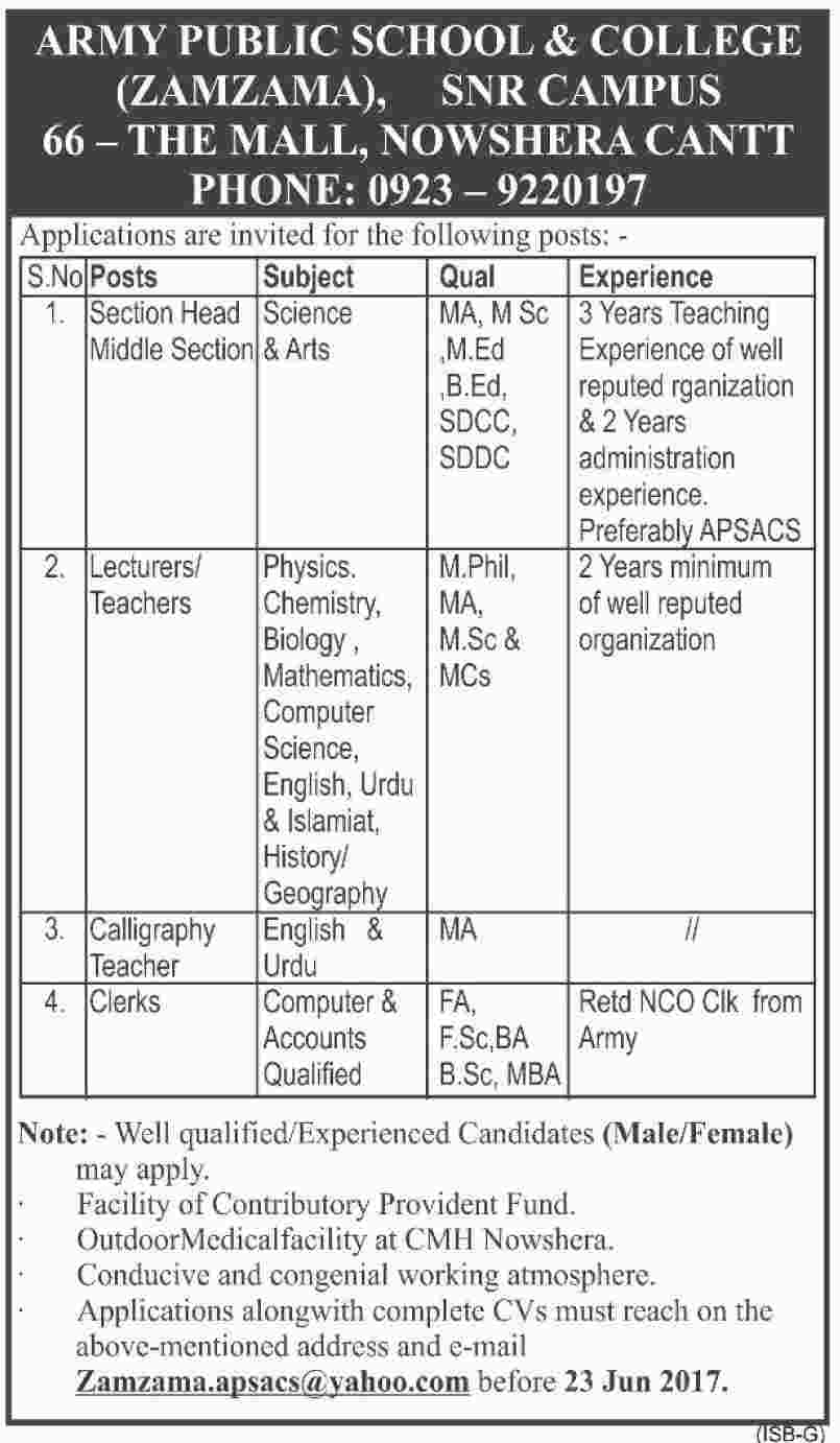 Jobs in Army Public School And College Nowshera Cantt 17th June 2017