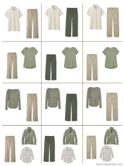 a dozen outfits built from 9 Neutral Building Blocks in beige and olive green