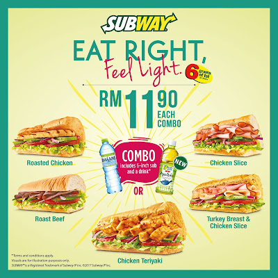 Subway Malaysia Eat Right Feel Light Combo Set Discount Promo