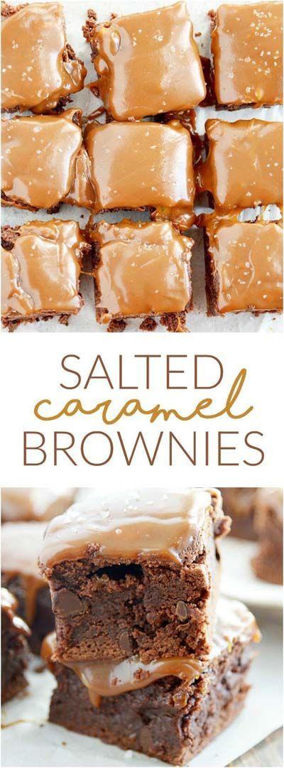Salted Caramel Brownies #salted #Caramel #Brownies #Dessert #Easydessert #Bestdessert #Cookies