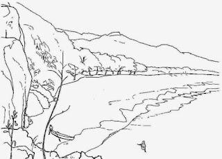 Sketsa Mewarnai Gambar Pemandangan Alam Pegunungan 20169