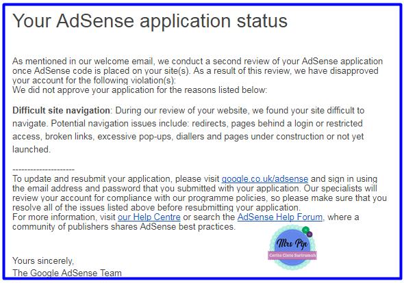 Google Adsense akhirnya memberi jawapan selepas lama mendiamkan diri!