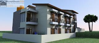 Perspektif 2 Desain Rumah kost minimalis modern 2 lantai