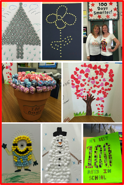 100th day of school family projects.  Students create at home with their families and bring back to school.