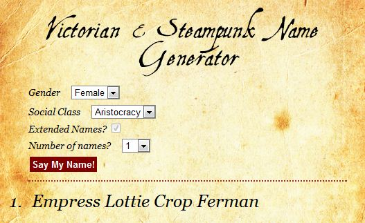 Steampunk Name Generator | Four Winds
