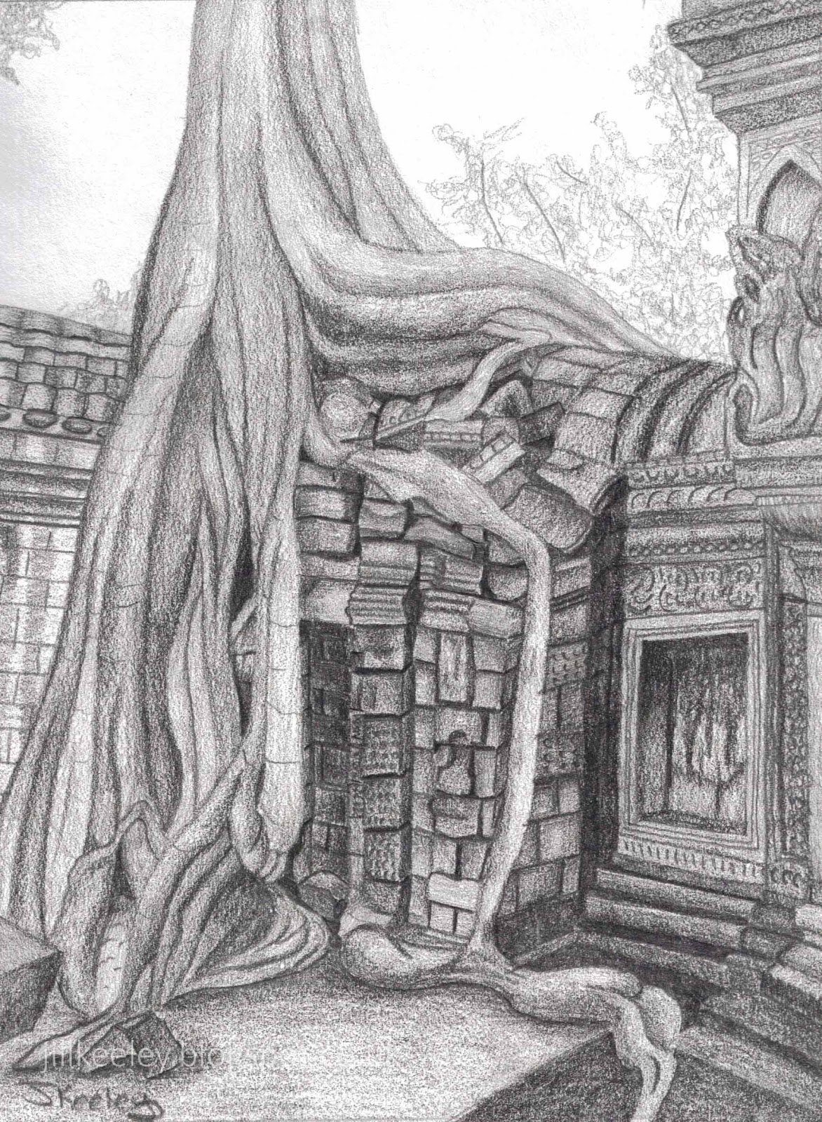 It's just an image of Ambitious Angkor Wat Drawing