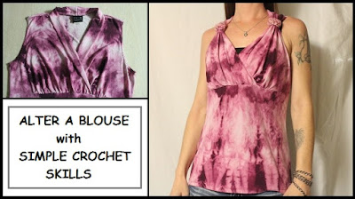 upcycle, crochet, alterations, sleeveless blouse, how to, easy, quick fix, top, tutorial