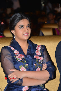 Actress Keerthi Suresh Stills in Blue Long Dress at Nenu Local Audio Launch  0021.JPG