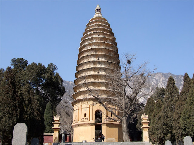 The 12-sided, 15-tiered, brick pagoda of the Songyue temple complex, Henan Province, China. Built in 523 AD, it is the oldest surviving Chinese pagoda