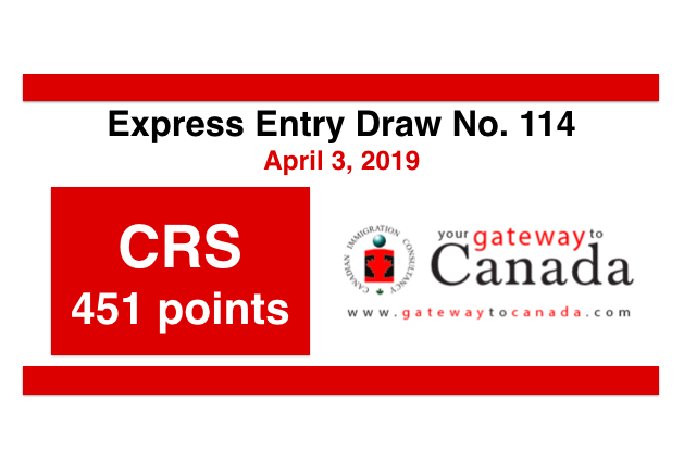Express Entry Draw No. 114 (April 3, 2019): CRS Score 451 Points