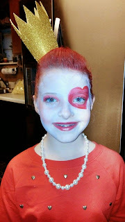 My sister kylee dressed as Queen of Hearts