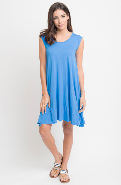 Buy Now Hydrangea Jersey Scoop Neck Cap Sleeve Dress Tunic Online -Final Sale- $20 -@caralase.com