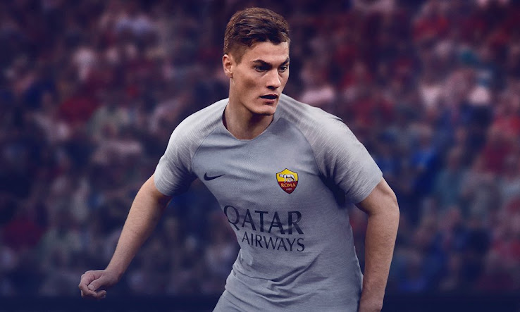 5ea96514dbefab Introducing an unusual look in grey, white and black, the Roma 2018-2019  away shirt is made by Nike and features recently signed main sponsor Qatar  Airways' ...