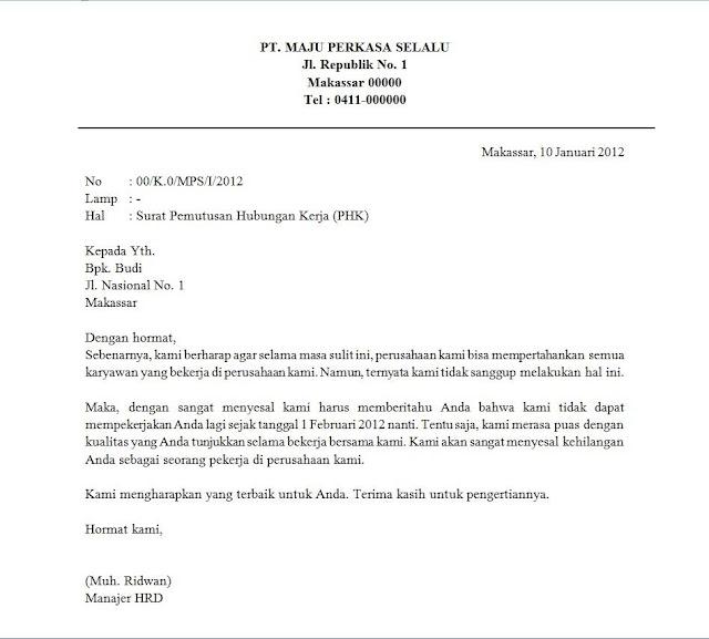 Contoh Surat Pemutusan Hubungan Kerja Resmi