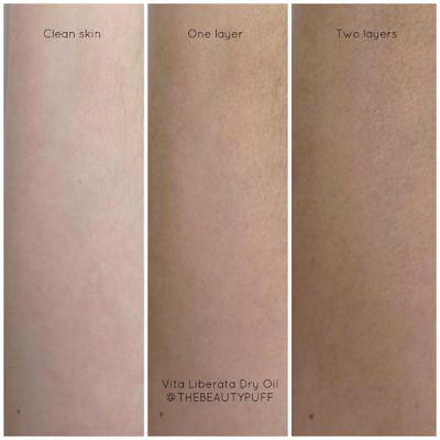 vita liberata self tan dry oil swatch - the beauty puff