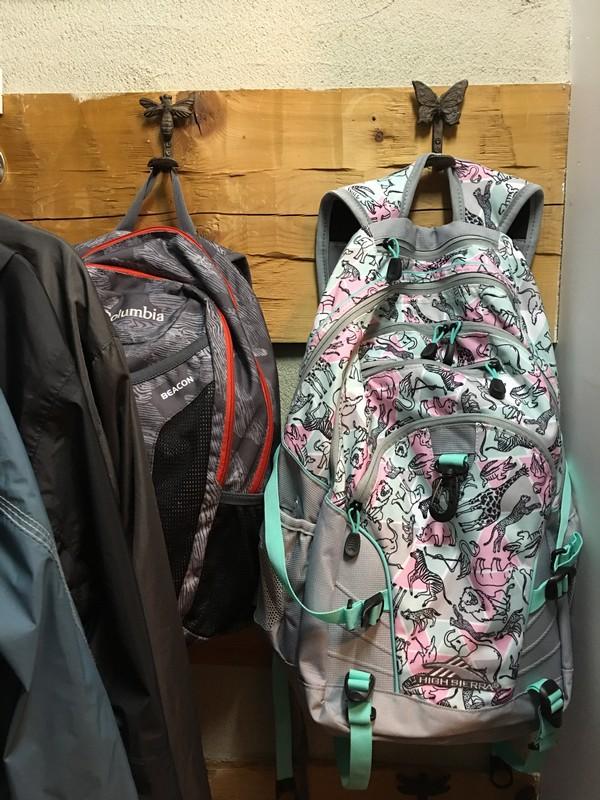 Coat Closet Mudroom Organization Makeover   $100 Room Challenge   Kids backpacks on hooks organization