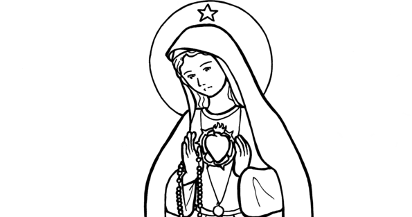 Snowflake Clockwork: Our Lady of Fatima coloring page and