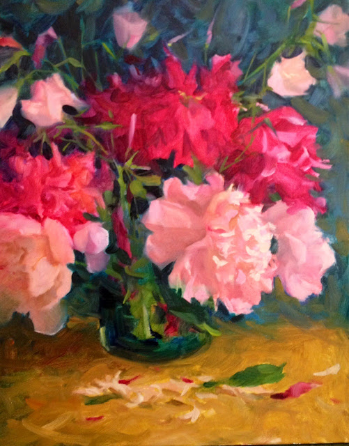 peony oil painting for sale by margaret aycock