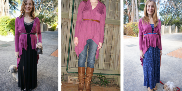 3 ways to wear a cardigan belted | away from the blue