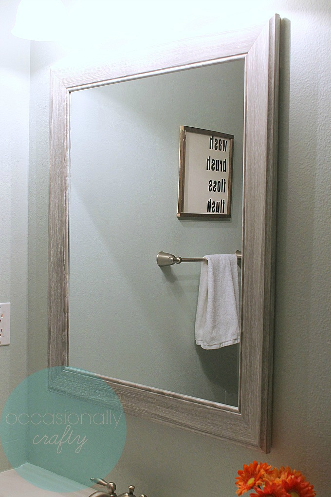 New Mirror for Basement Bathroom Makeover