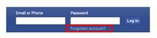 facebook forgot password code